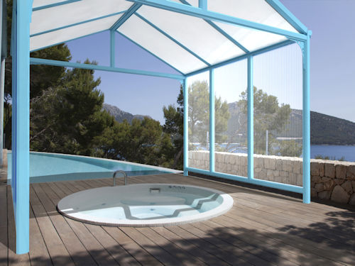 Hot tub canopies milwood group for Hot tub shelters